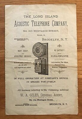 Rare 1890s Advertising Booklet Long Island Acoustic Telephone Company !!!