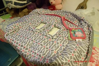 "NWOT Girls ""Boppy"" Pink & Gray Shopping Cart Cover, Geometric Design & Baby Book"