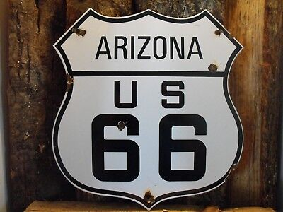 "Vintage ROUTE US 66 ARIZONA State Highway Shield Porcelain Sign 12"" x 11"" COOL"