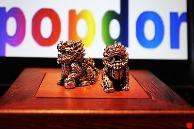 Tibet silver carved lions - set of 2