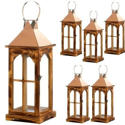 6 golden metal wood lantern large tall candle holder wedding