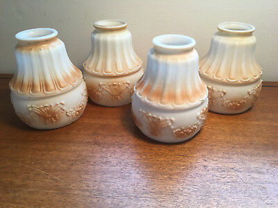 Set of 4 Antique Painted Milk/Satin Glass Ceiling Lamp Shade(s)