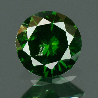 0.19 cts. CERTIFIED Round Cut Vivid Leaf Green Color Loose Natural Diamond 8090