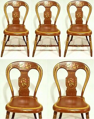 《●FREE SHIPPING●》 1800s Hitchcock Era Federal Pennsylvania Fancy Painted Chairs