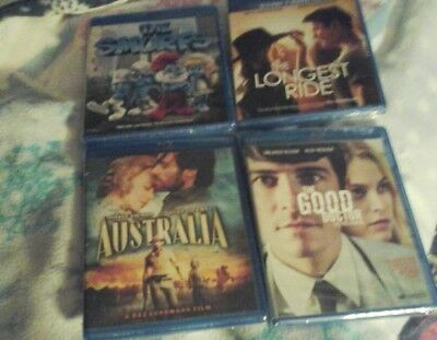 Lot of 4 Blu rays, The smurfs, The Good Doctor, Australia,The Longest Ride,  NEW