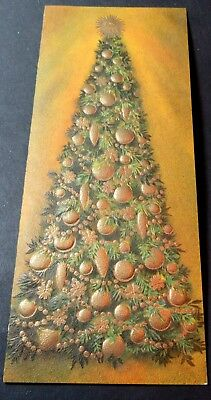Used Vtg Christmas Card Embossed Christmas Tree w Gold Ornaments & Garland