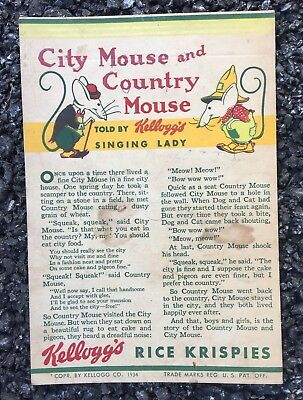 Antique Kellogg's Ad From 1934 City Mouse And Country Mouse Told By Singing Lady