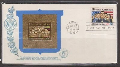 USA 1985 23k Gold Stamp Replica Hispanic Americans First Day Cover
