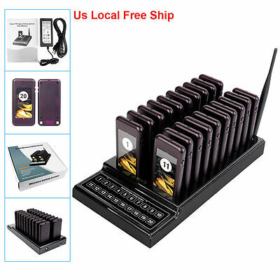 US Ship 20 Restaurant Pager Guest Call Wireless Paging Queuing System 433.92MHz