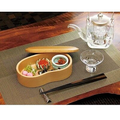 Japanese Bento Lunch Box Serving Plate tray Natural white wood soramame