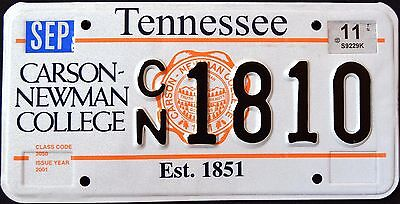 "TENNESSEE "" CARSON - NEWMAN COLLEGE ""  TN Specialty License Plate"