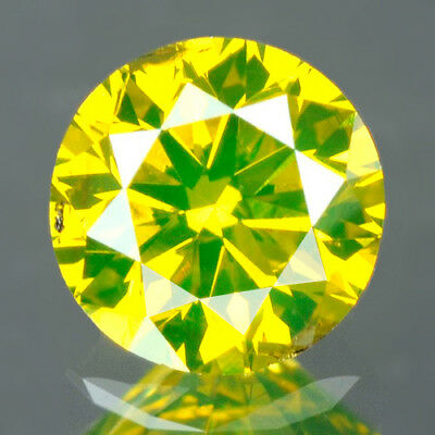 0.24 cts. CERTIFIED Round Cut SI2 Vivid Canary Yellow Loose Natural Diamond 8901