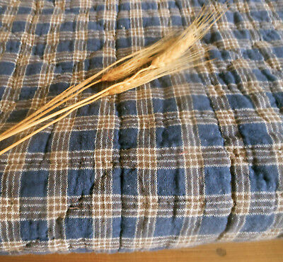 Antique 19thc Indigo Blue & Brown Homespun  Calico Spool Quilt ~ Farmhouse Cabin