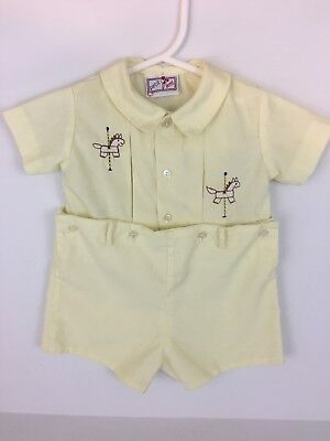 Vintage baby boy shorts romper. Yellow button up with collar. Horse embroidery.