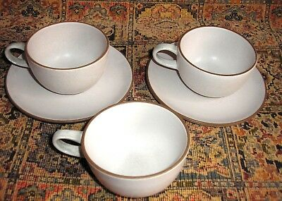 Vintage Heath Ceramics CA  3 cups, 2 saucers opaque white (brown edge)