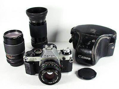 Canon AE-1 Program 35mm SLR Film Camera with 3 Lenses and Case