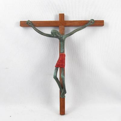 Vintage Mid Century Modern Crucifix In Wood & Bronze Or Brass