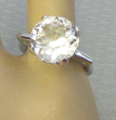 vtg marked STERLING SILVER 4ct CRYSTAL SOLITAIRE RING sz 7 big round dazzling