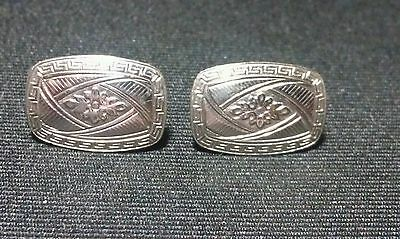 14 kt White and Yellow Gold Art Deco Cuff links made into Earrings, pierced