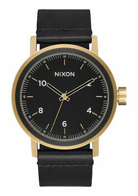 NIXON Stark Leather All Black / Gold WATCH NEW FREE POST AUST A1194 1031-00