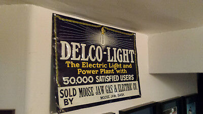 """Delco light Embossed tin sign 20"""" x 13.5"""" (1917) Rare Cool town name   (details)"""