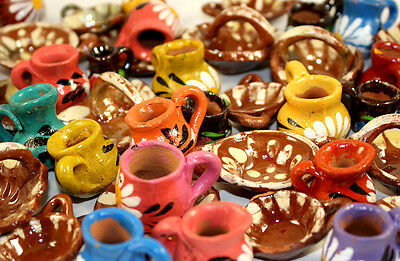Mexican Clay Pottery Doll House Miniature Glazed Terra Cotta Dish Set Of 20