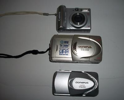 Lot of 3 Cameras - Olympus Camedia D-560 Zoom and D-490 Zoom and Canon A530
