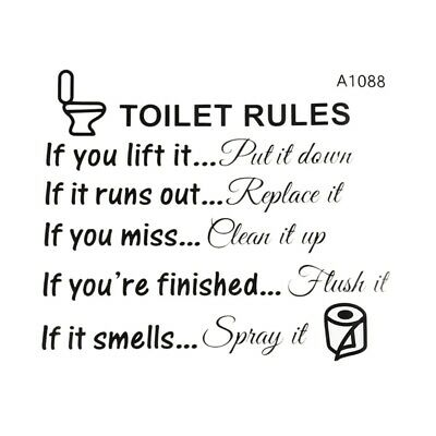 Toilet Rules Bathroom Removable Wall Sticker Vinyl Art Decals Home Decor K3Z8
