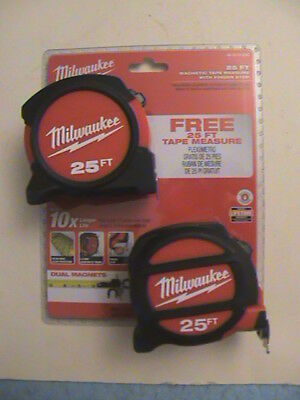 2 New Milwaukee Magnetic Tape Measure 48-22-5125 & Non-Magnetic 25' 25 Feet!!