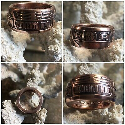 NEW Top Quality Memento Mori Skull .999 Copper Coin Ring Last laugh Hand Forged