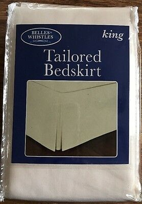 """King Size Tailored Bedskirt Ivory Color 78 x 80 & 14"""" Drop Easy Care Fabric New"""
