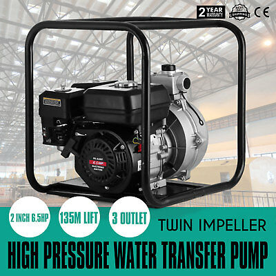 """2 Inch 2"""" Portable Petrol High Flow Water Transfer Pump Camping Irrigation Fire"""