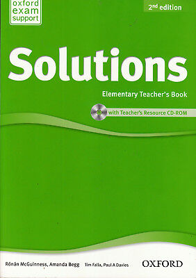 Oxford SOLUTIONS Elementary Teacher's Book with Resource CD-ROM 2nd Edition @NEW