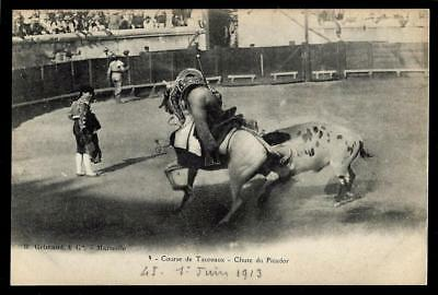 """1¢ Wonder's ~ 1913 Spain Pc W/ """"running Of The Bull, Fall Of The Picador"""" ~ C930"""