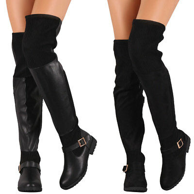 New Women Stretchable Ribbed Knit Buckle Over The Knee Riding Boot Low Flat Heel