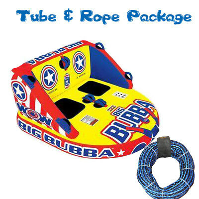WOW Big Bubba Towable Ski Tube Inflatable Biscuit Boat Ride + 2 Person Tow Rope