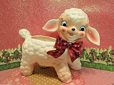 Vtg Anthropomorphic Baby Lamb W Red Dotted Bow Planter Vase Baby Shower Gift