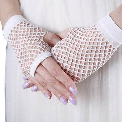 White Fishnet Fingerless Net Gloves Dress up Costume 80's Disco Party Goth Dance
