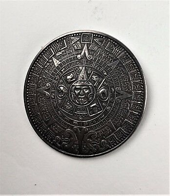 Vintage Mexican Sterling Silver Aztec Mayan Calendar Brooch Pendent- Signed