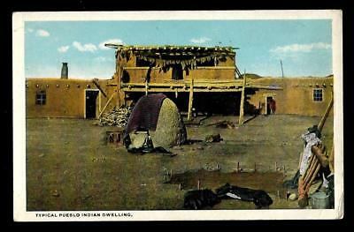 "1¢ Wonder's ~ Native American Postcard W/ ""typical Pueblo Indian Dwelling"" ~C941"