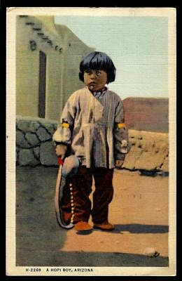 "1¢ Wonder's ~ Native American Postcard W/ ""a Hopi Boy"" Arizona ~ C943"