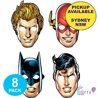 Justice League Party Supplies 8 Birthday Batman Flash Superman Favour Masks