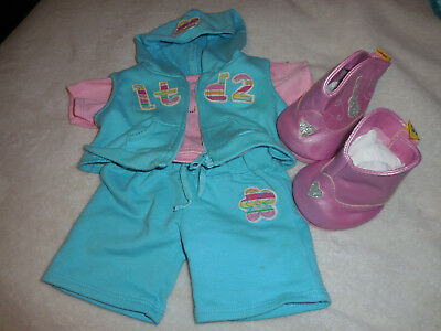 Build A Bear Blue sweatrs Outfit with Pink Boots clothing lot
