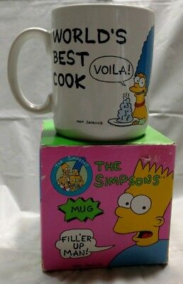 "Simpsons "" Worlds Best Cook"" Coffee Mug 1990 New in Box"