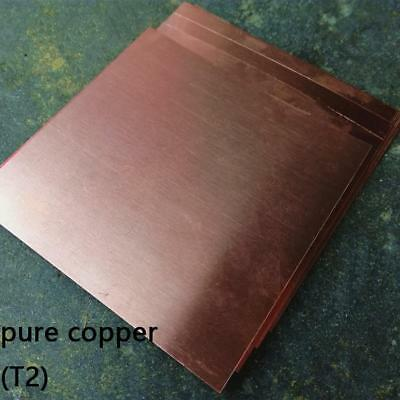 1pcs 99.9% T2 Pure Copper Cu Metal Sheet Plate 3 x 100 x 100mm