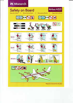 Safety card Monarch Airbus A321 (September 2016) FINAL EDITION