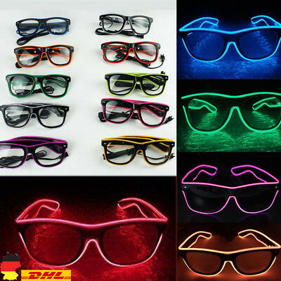 LED Farbe Party Brille El Wire Light Up Glasses Leuchtbrille mit Controller TOP