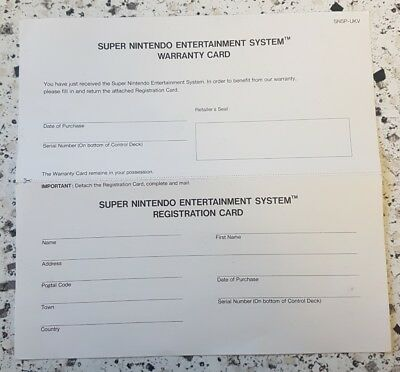 SUPER NINTENDO SNES Console Warranty / Registration Card Only PAL - UKV