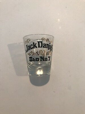 Jack Daniel's shot glass Old No 7 Gold Black on clear
