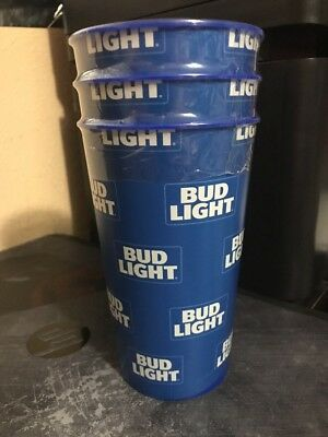 3 Bud Light Beer Limited Edition Collectible Blue Hard Plastic Party Cups 22 oz